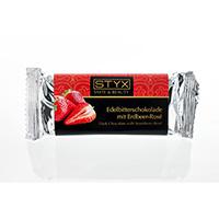 STYX Edelbitterschokolade mit Erdbeer-Rose bio